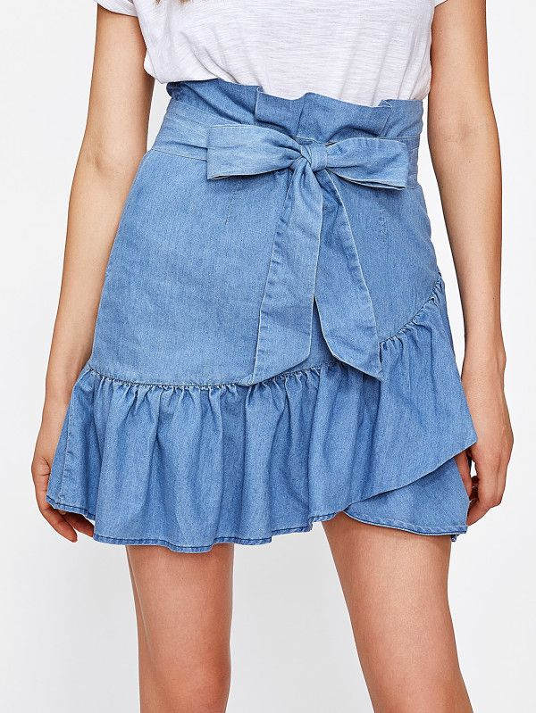 b6c0393db1 Self Belted Ruffle Hem Overlap Skirt -SheIn(Sheinside) | Fashion ...