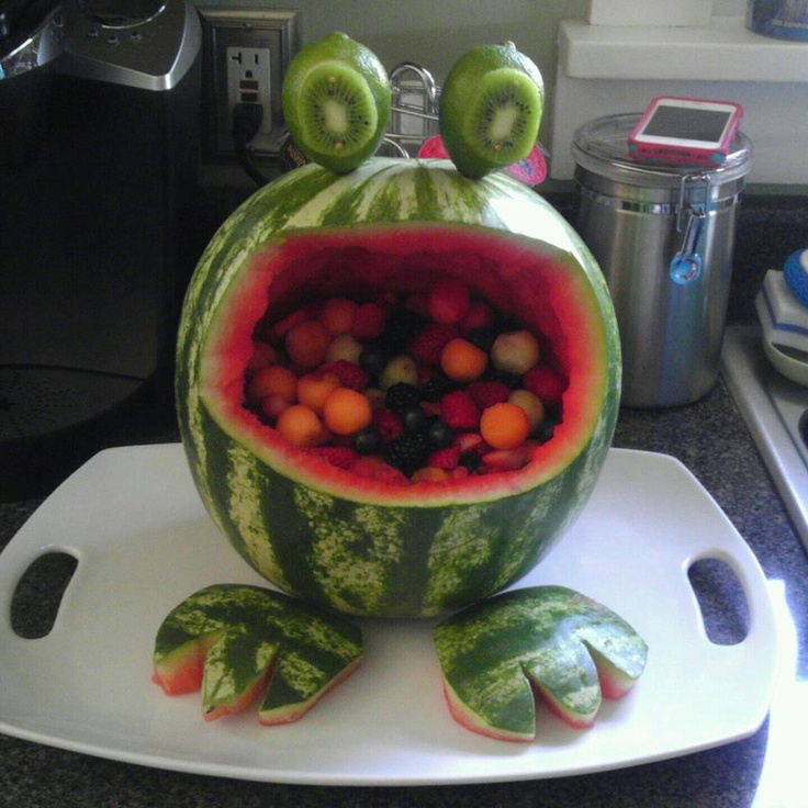 Frog watermelon basket!