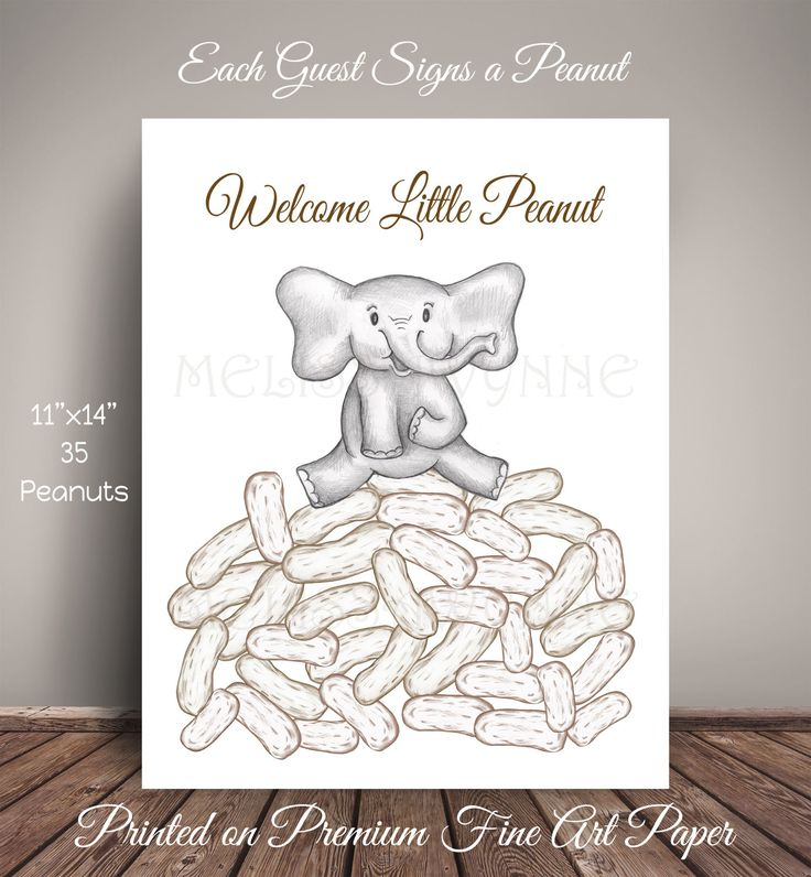 Elephant Peanut Baby Shower Guest Book Alternative - Fine Art Print, Nursery Art by MelissaWynneDesigns on Etsy