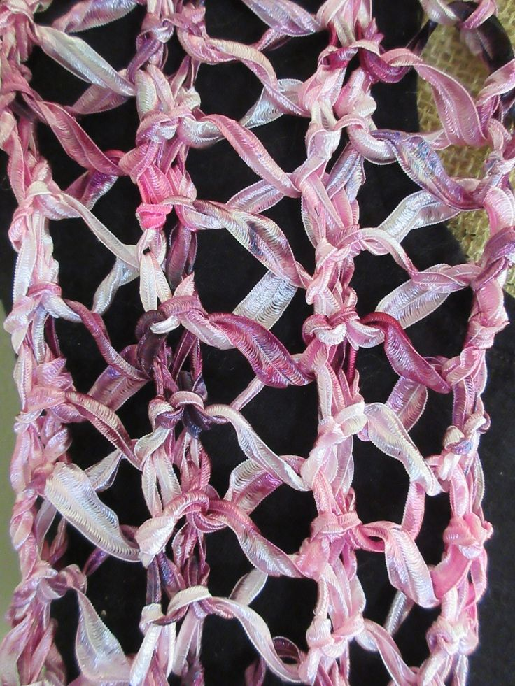 Hand Dyed Knitted Ribbon Scarf by Sharon Stone