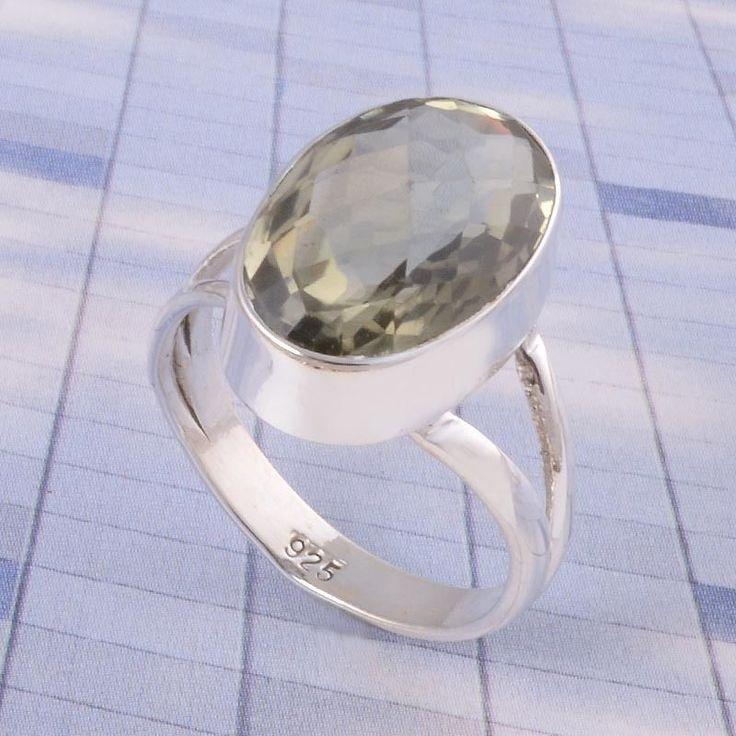 EXCLUSIVE 925 STERLING SILVER Green Amethyst Cut RING JEWELLERY 4.28g DJR3517 #Handmade #Ring
