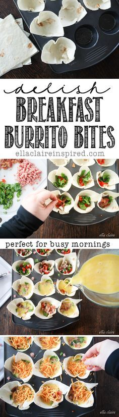 Breakfast Burrito Bites~~ Delicious! and Freezable for mornings on the go. Great for Brunch too!