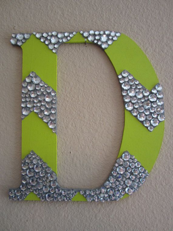 Chevron Painted Wooden Letter with Rhinestone by SpellingSinclair (This is my Etsy shop! check it out!)