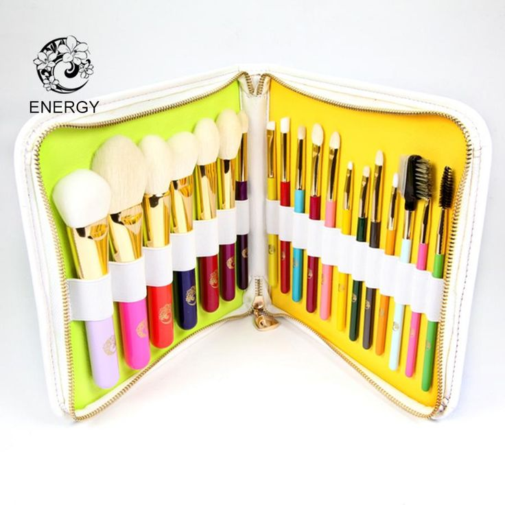 ENERGY Brand Professional 19pcs Colorful Rainbow Makeup Brush Set Make Up Brushes  Bag Brochas Maquillaje Pinceaux Maquillage