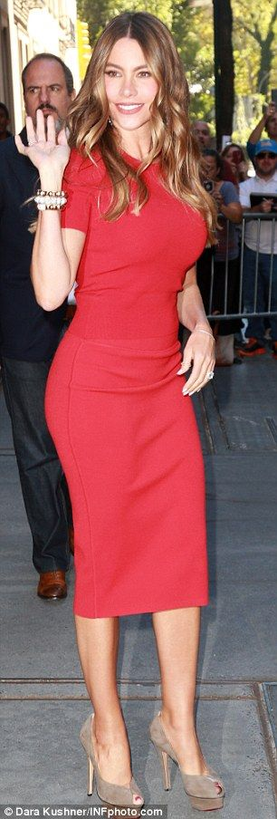 Quick change: Sofia Vergara wore two stylish frocks while in New York on Wednesday...