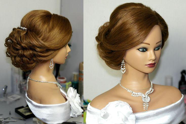 Bridal updo. Hairstyles for long medium hair. Свадебная прическ…