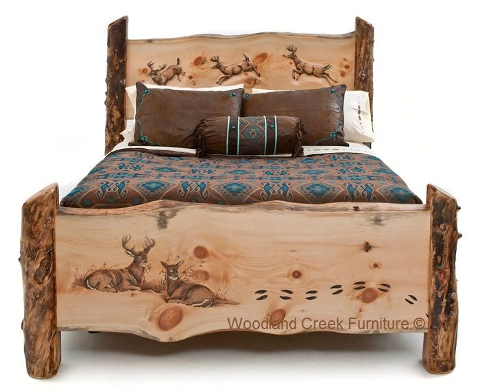 Log Bed with Buck & Doe Scene by Woodland Creek