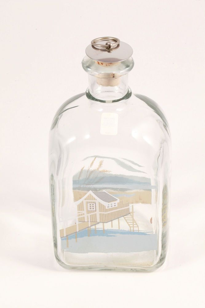 VTG Holmgaard Denmark Art Glass Flask Decanter Fishing Seaside Beach Cabin Décor #Holmgaard