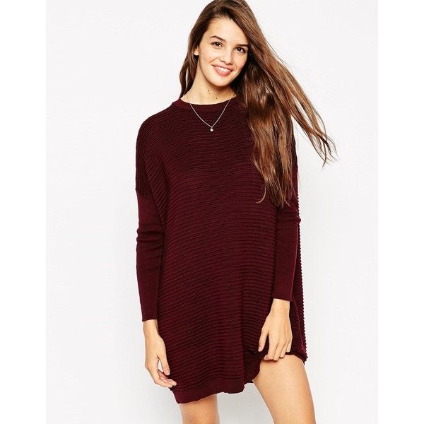 ASOS Jumper Dress in Ripple Stitch ($55) ❤ liked on Polyvore featuring dresses, darkred, asos, red dress, round neck dress, ribbed dress and asos dresses