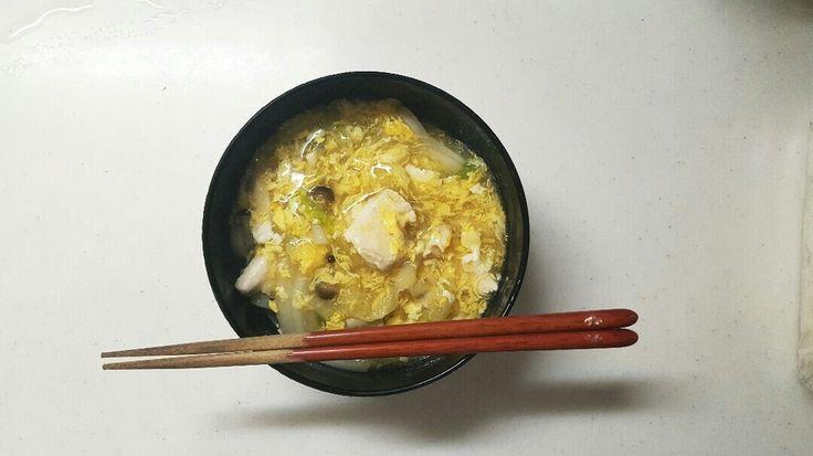 鶏肉 白菜 しめじ 卵のあんかけうどん
