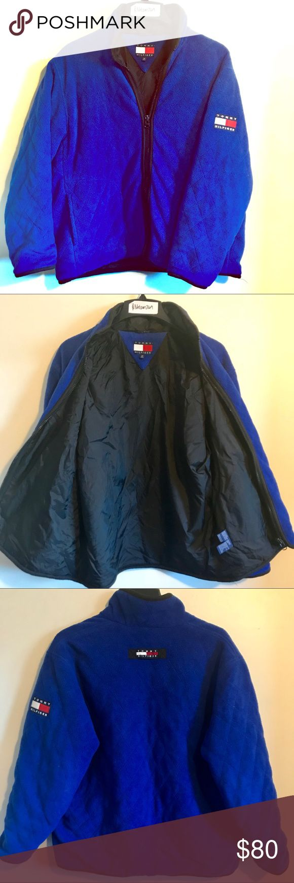 90s Vintage Tommy Hilfiger Down Jacket Flag Logo Great shape men's medium vintage Tommy Hilfiger full zip down jacket. Royal blue with patch flag logos, nylon lining, fleece exterior, & two front pockets. This is a great vintage find. Tommy Hilfiger Jackets & Coats