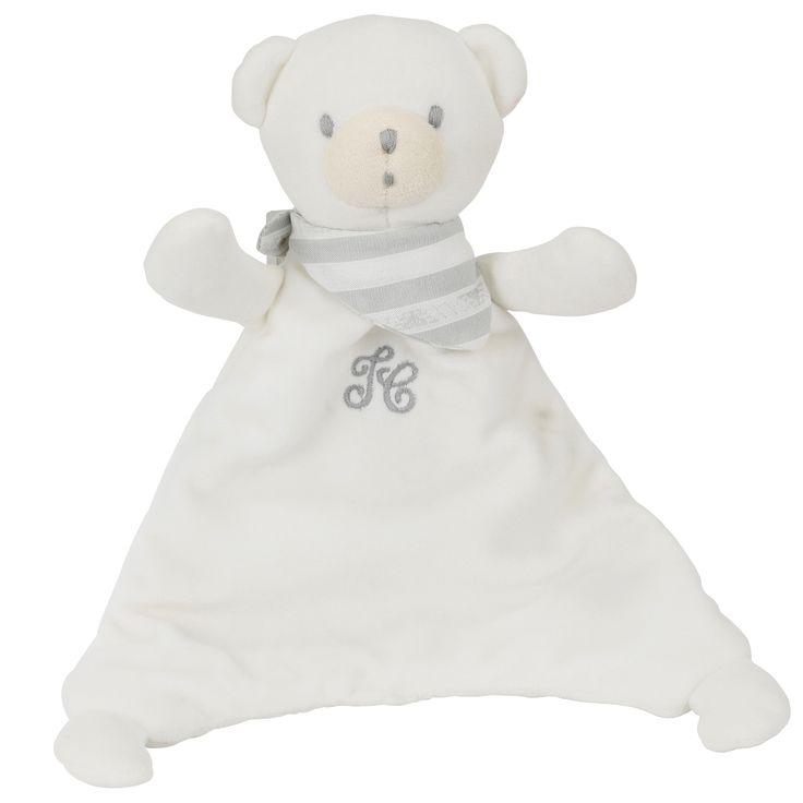 White doudou Prosper the polar bear in velvet, 25 cm