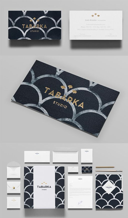 Beautifully Patterned And Textured Gold Foil Stamped Business Card Design