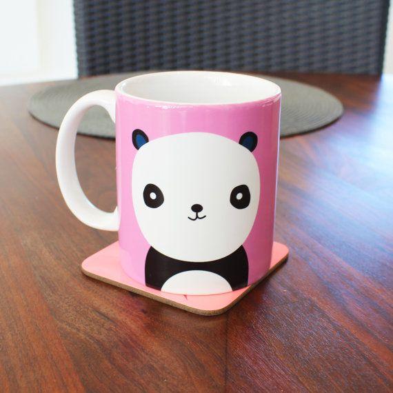Cute Pastel Pink Panda mug funny mug 4M051D by Memeskins on Etsy