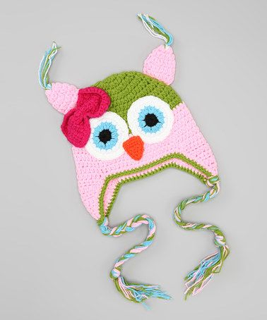 Take a look at this Pink & Green Bow Owl Earflap Beanie by Crossroad on #zulily today!
