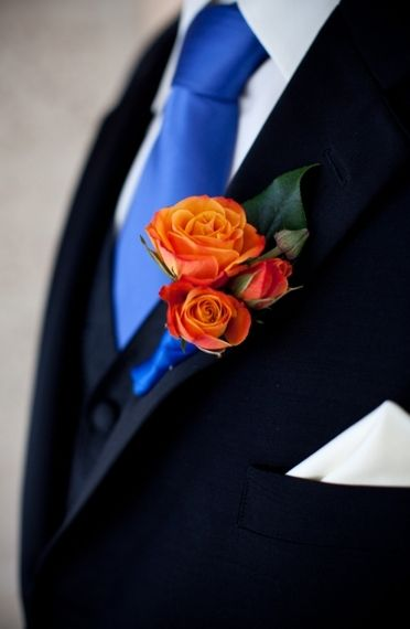I like this - whatever tie color he decides will be great with whatever flower colors you choose :)
