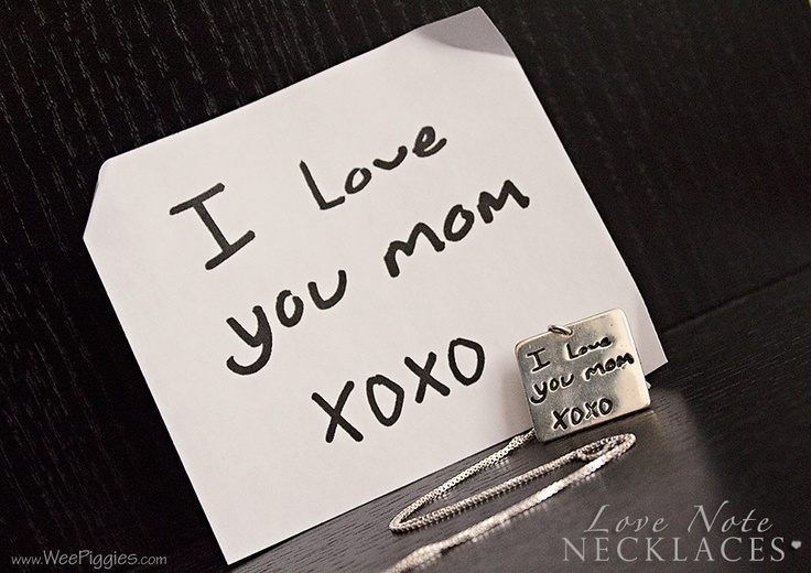 A child's note to Mom made into a Sterling #Silver necklace. www.WeePiggies.com for more info