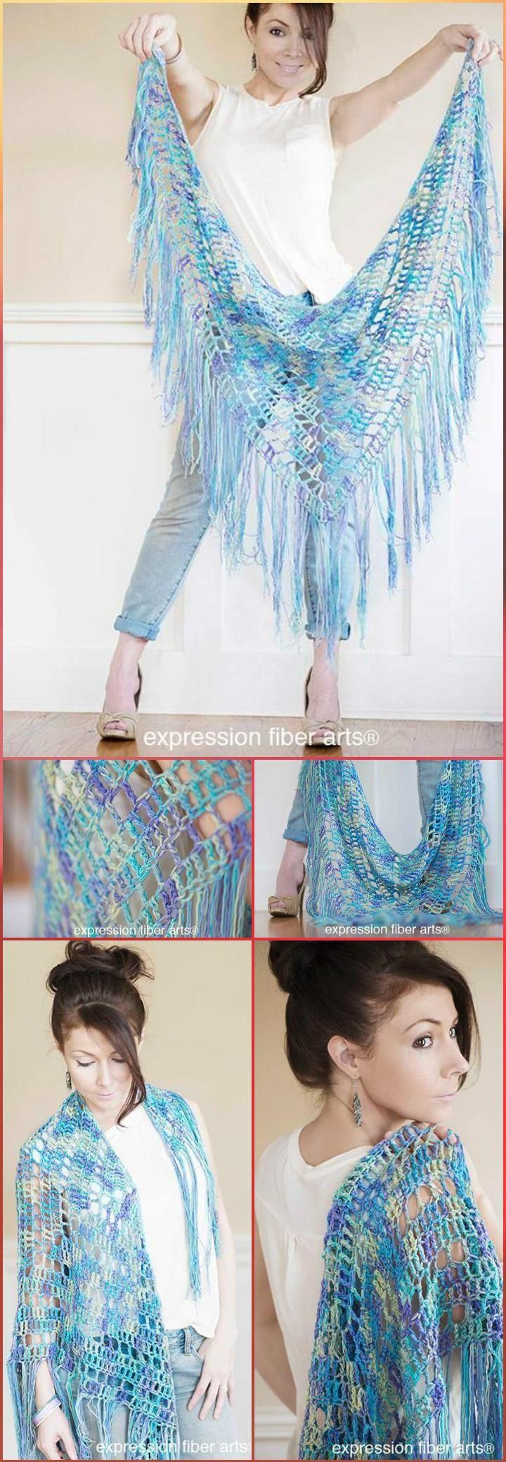 Crochet Boho Triangle Shawl - 100 Free Crochet Shawl Patterns - Free Crochet Patterns - Page 2 of 19 - DIY & Crafts