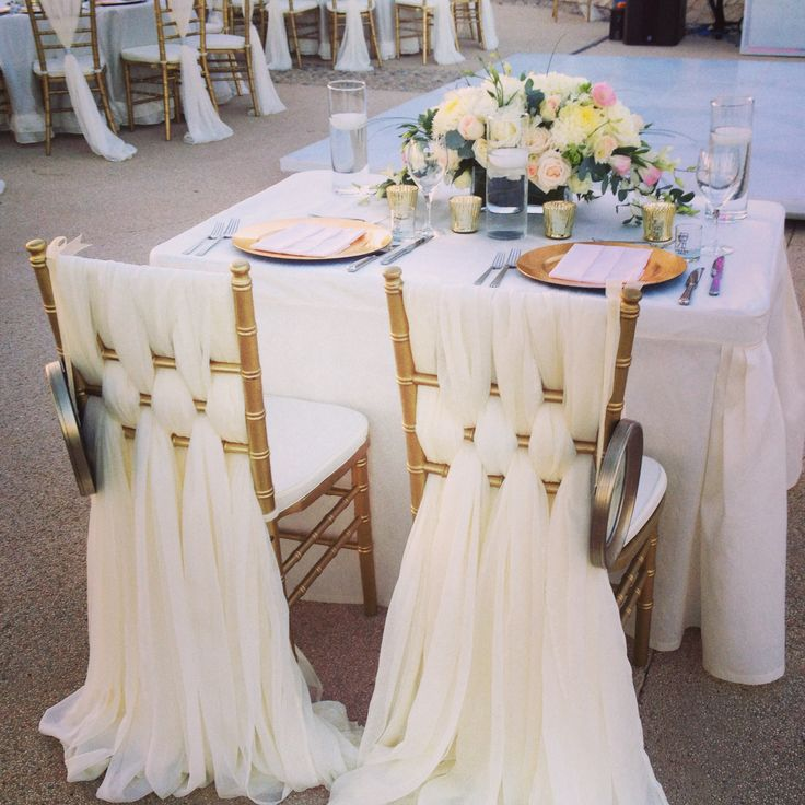 9 best images about bride and groom table decor on for Table and chair decorations for weddings