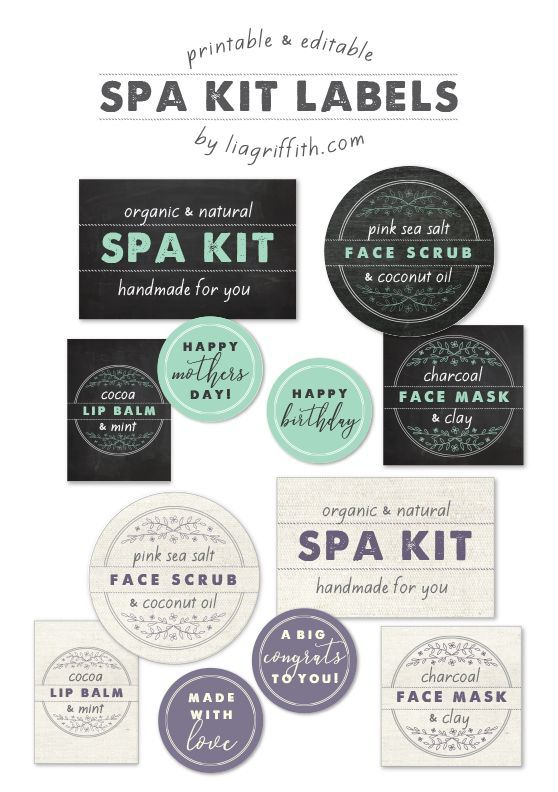 Editable Spa Kit Labels - Lia Griffith - www.liagriffith.com #diyspa #diybeauty #diygifts #diygiftideas #printables #printable #madewithlia