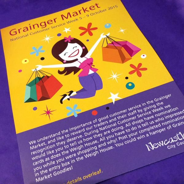 The Grainger Market is taking part in National Customer Service Week with the Customer Service Challenge.  You could win a bag of Grainger Market goodies - pick up a leaflet in our shop or from around the Weigh House for details.