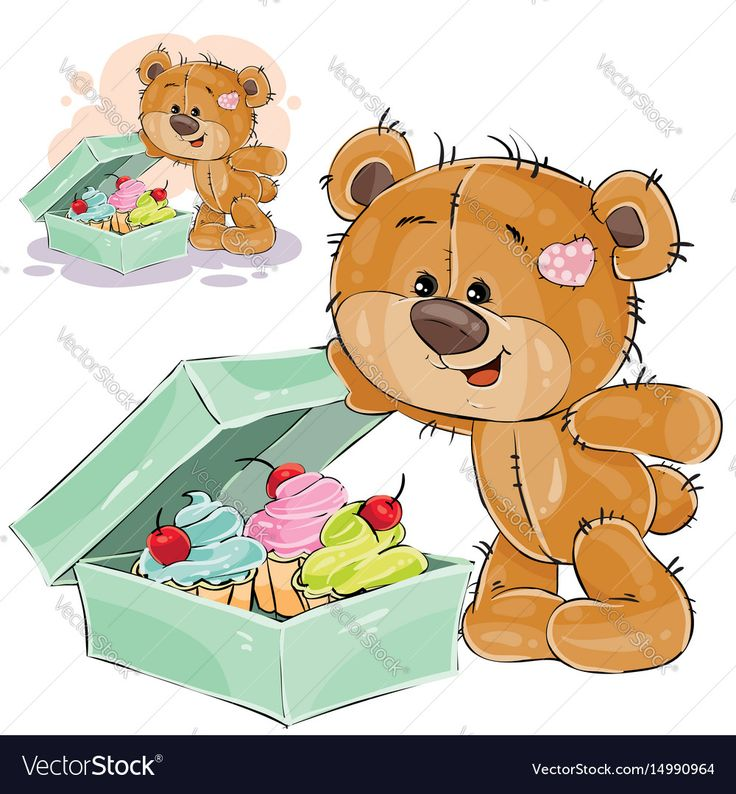 Vector illustration of a brown teddy bear sweet tooth opened a box of cakes. Print, template, design element. Download a Free Preview or High Quality Adobe Illustrator Ai, EPS, PDF and High Resolution JPEG versions.