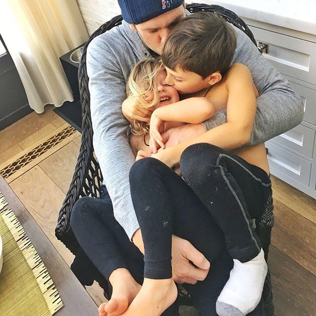 Pin for Later: The Cutest Snaps of the Cutest Celebrity Dads in Hollywood Tom Brady and Benjamin and Vivian