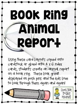 Book Ring Animal Report - Engaging Alternative to Basic Informational reports $