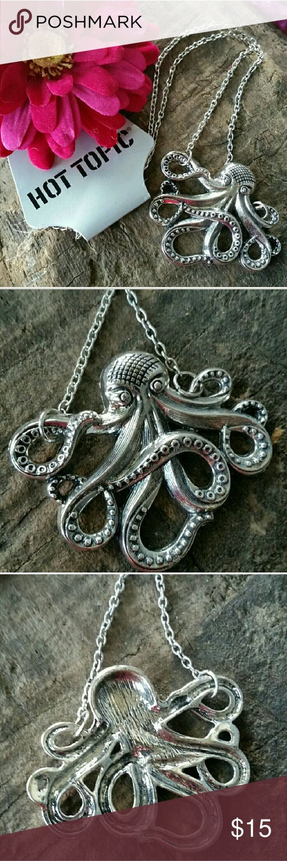 """Silver Octopus Necklace Hi Poshers! I'm selling this adorable octopus necklace! This necklace would look so cute with a floral summer dress or a flowy blouse and some denim shorts! Very versatile. NWT chain is 18.5"""" but it's adjustable Hot Topic Jewelry Necklaces"""