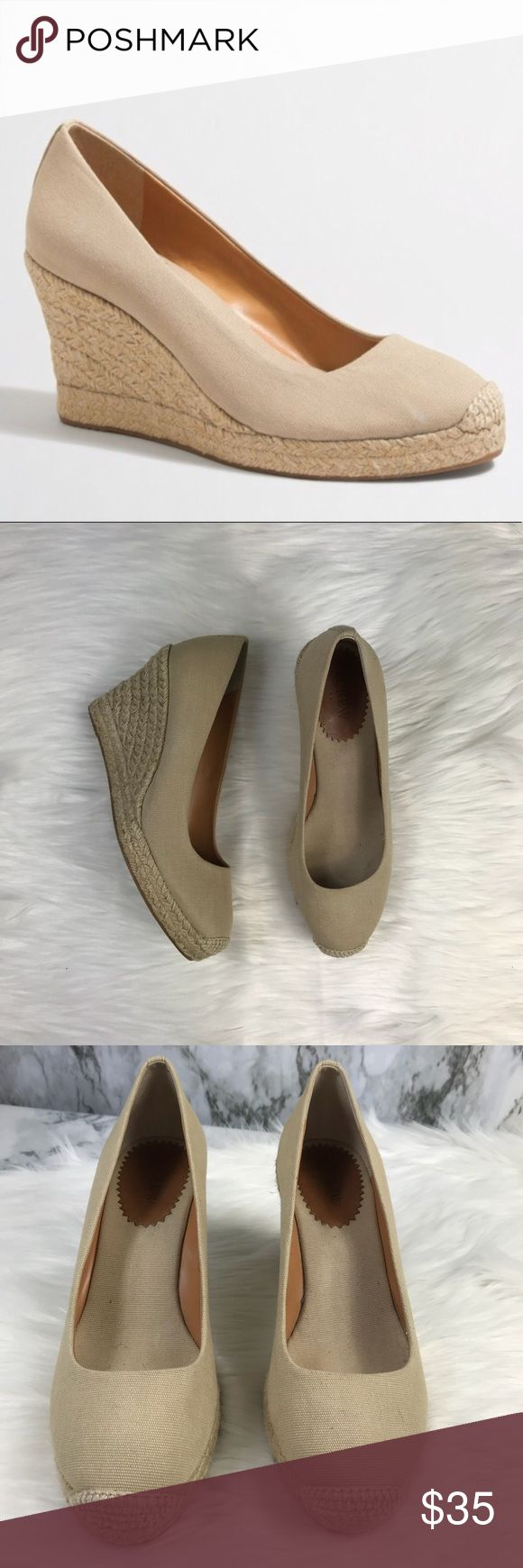 J.Crew Factory | Canvas Espadrilles Wedges These wedges are in great condition! They are pre owned but they were hardly worn. So cute and can be paired with anything! 3.34in. Heel. Rubber sole. Canvas upper.💕SB1 Size 9 J.Crew Factory Shoes Wedges