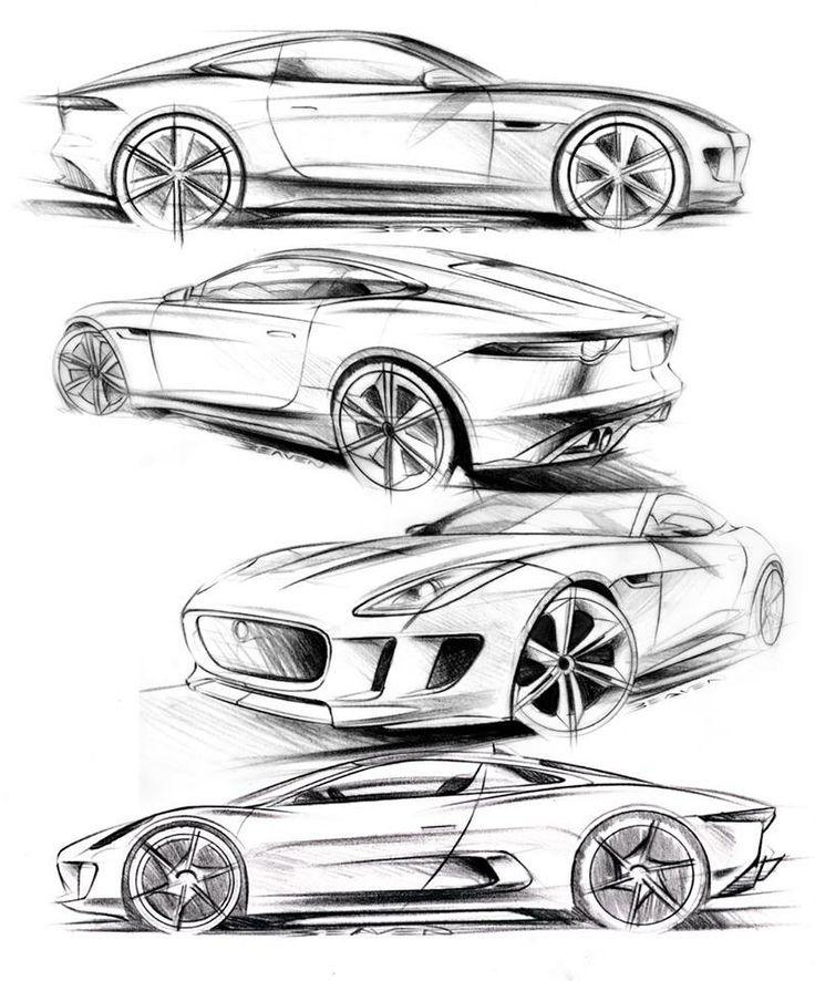 Matthew Beaven's Jaguar concept/production pencil sketches - F-Type Coupe, C-X16 Concept, and C-X75 Concept: