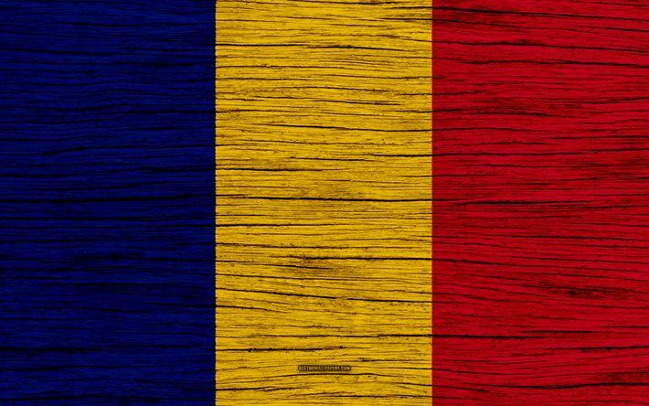 Download wallpapers Flag of Romania, 4k, Europe, wooden texture, Romanian flag, national symbols, Romania flag, art, Romania