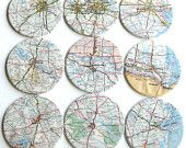 Texas Karte Untersetzer / / Recycling-Karte / / Set 9