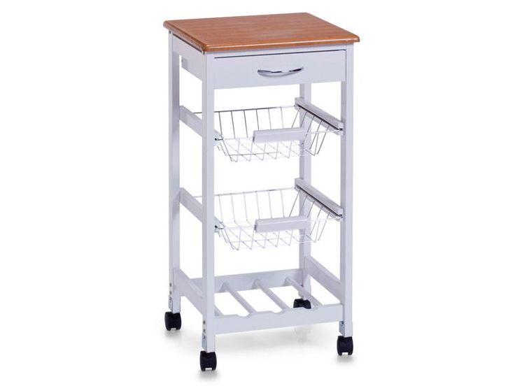 Zeller Küchenrollwagen, weiß/Bamboo-Dekor, MDF 1