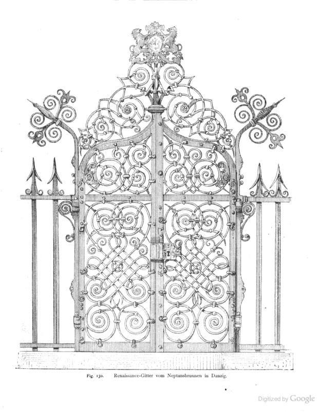 1891 - Die Kunst- und Bauschlosserei in ihrem gewöhnlichen Umfange mit besonderer Berücksichtigung der Kunstgewerblichen Form by Krauth and Meyer