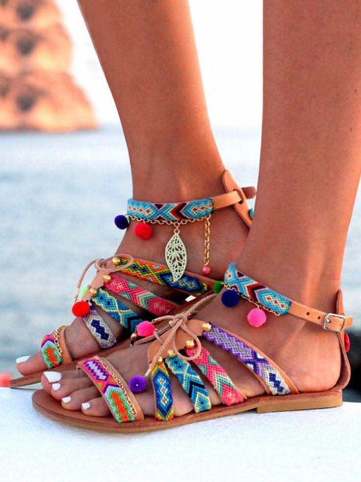 Ethnic Style Pom Pom Lace-up Flat Sandals