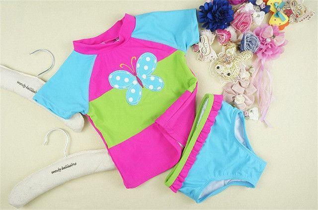 butterfly embroidery design children swimswear 12M-6T girls swimsuit kids swim wear baby girls's beachwear bathing suit for girl