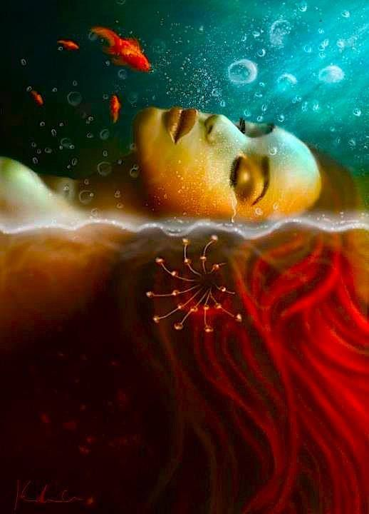♥ Sleeping in the deep water - http://www.pinterest.com/borzui/mermaid-turtle/