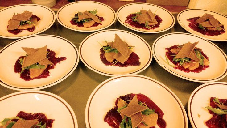 Carpaccio di cervo con zucca marinata e sfoglie integrali - piatti #GIFT