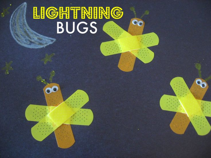 Band-Aid Lightning Bugs CraftSummer Crafts, Bandaid, Lighten Bugs, Crafts Ideas, Bug Crafts, Band Aid, Kids, Lightning Bugs, Bugs Crafts