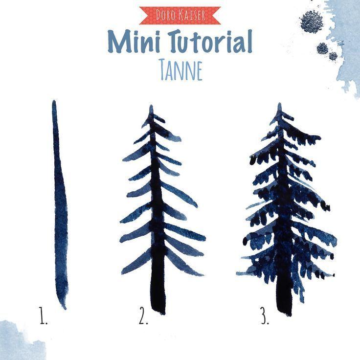 Anleitung Aquarellfarben Lernen Malen Tannenbaum Winterwald