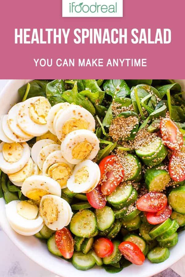 Simple Spinach Salad Recipe With Easy Healthy Salad Dressing You Can Make In 5 Minutes Ifoodreal Cleaneat Spinatsalat Rezepte Gesunde Rezepte Leckere Salate