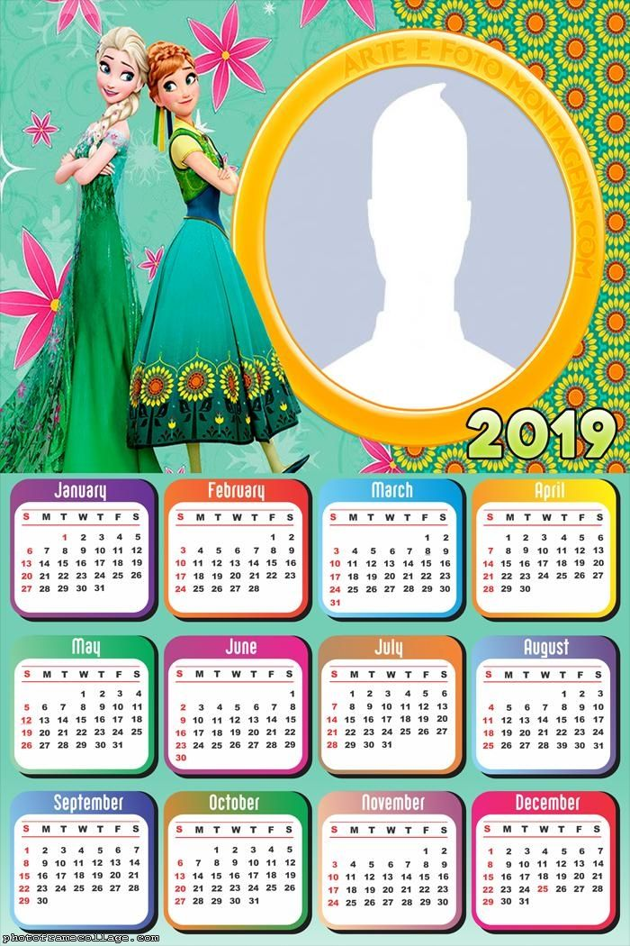 Anna and Elsa Frozen Calendar 2019 Frame Photo Montage
