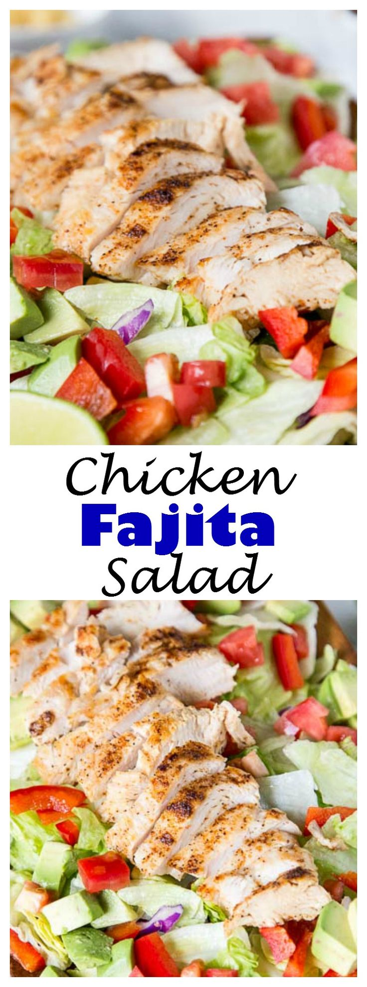 Chicken Fajita Salad – a hearty salad topped with grilled chicken, peppers, onion, avocados, and a salsa vinaigrette dressing. Definitely not your average salad!
