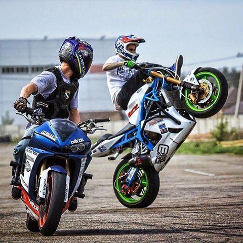 @mihastunt & @slavomir_stunt  #thsup #stuntparts #stuntbike #stuntbikes #yamaha #r6 #kawasaki #636 #madeinrussia #qualityparts #worldwideshipping