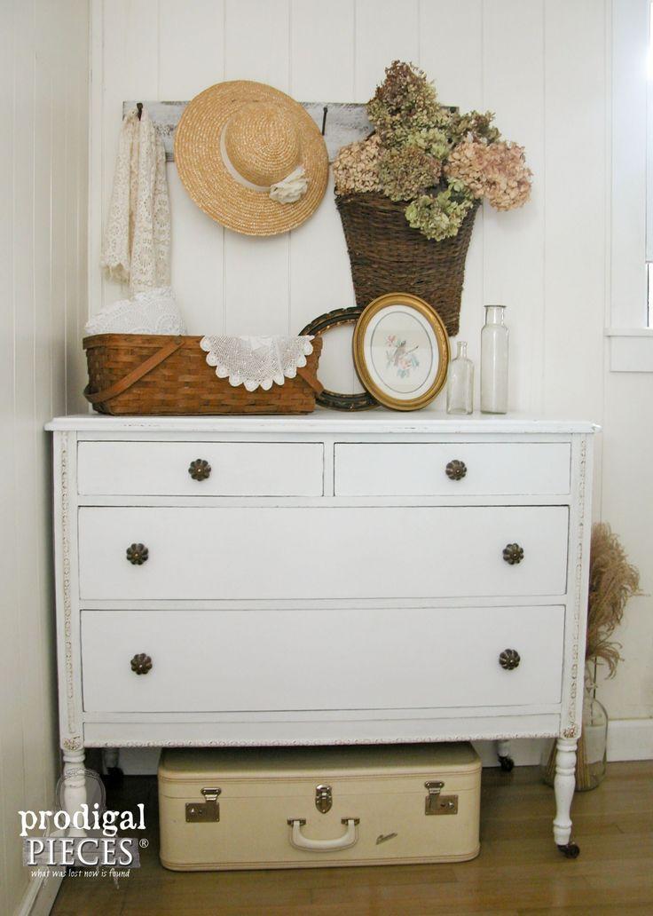 White Farmhouse Distressed Dresser Makeover by Prodigal Pieces | www.prodigalpieces.com