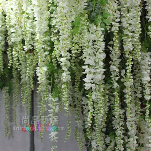 2X Artificial Silk Wisteria Flower Vine Hanging Garland Wedding Plant Home Decor   eBay