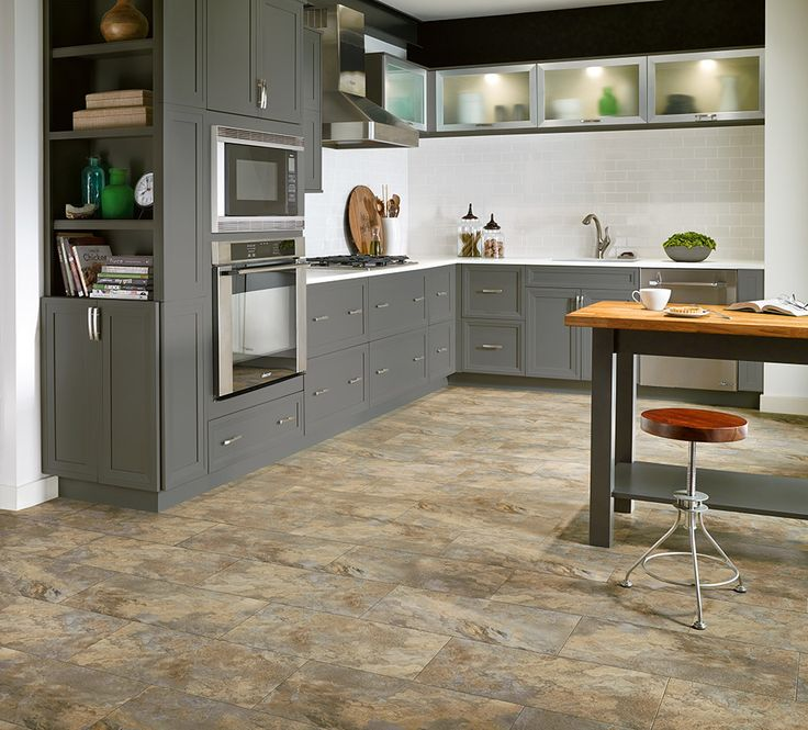 Armstrong Luxury Vinyl Tile Flooring | LVT | Stone Tile Look | Kitchen Ideas