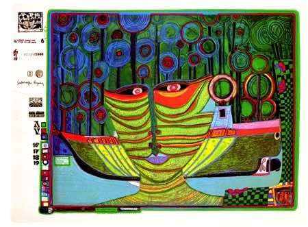 "Hundertwasser, ""Columbus' Rainy Day in India"" 1971-72. Sheet No. 6 in the portfolio ""Look at it on a rainy day"". Silkscreen in 17 colors with metal imprints in 5 colors on metallic cardboard. Ed. of 3,000."