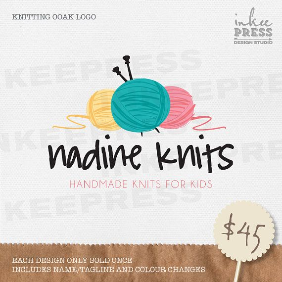 Knitting OOAK Logo Design by InkeePress on Etsy, $45.00